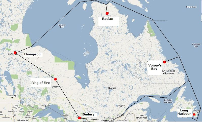 Map of Canadian nickel mines, concentrators, smelters and refineries.
